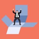 L'uomo d'affari esce della scatola Immagine Stock Libera da Diritti