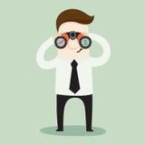 L'uomo d'affari facendo uso dei bunoculars esamina la crescita dell'affare ed usufruisce Immagini Stock Libere da Diritti