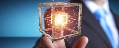 L'uomo d'affari facendo uso del cubo futuristico ha strutturato la rappresentazione dell'oggetto 3D Fotografia Stock Libera da Diritti