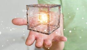 L'uomo d'affari facendo uso del cubo futuristico ha strutturato la rappresentazione dell'oggetto 3D Immagini Stock