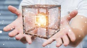 L'uomo d'affari facendo uso del cubo futuristico ha strutturato la rappresentazione dell'oggetto 3D Fotografie Stock Libere da Diritti