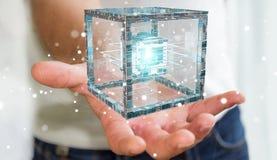 L'uomo d'affari facendo uso del cubo futuristico ha strutturato la rappresentazione dell'oggetto 3D Immagine Stock