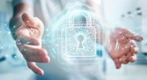 L'uomo d'affari facendo uso del lucchetto digitale con protezione dei dati 3D rende Immagine Stock Libera da Diritti