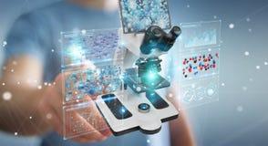 L'uomo d'affari facendo uso del microscopio moderno con l'analisi digitale 3D ren Fotografia Stock