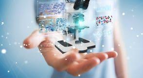 L'uomo d'affari facendo uso del microscopio moderno con l'analisi digitale 3D ren Immagini Stock