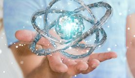L'uomo d'affari facendo uso del toro futuristico ha strutturato la rappresentazione dell'oggetto 3D Fotografia Stock