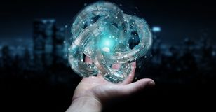 L'uomo d'affari facendo uso del toro futuristico ha strutturato la rappresentazione dell'oggetto 3D Immagini Stock Libere da Diritti