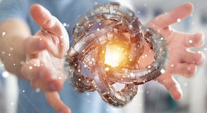 L'uomo d'affari facendo uso del toro futuristico ha strutturato la rappresentazione dell'oggetto 3D Immagine Stock Libera da Diritti