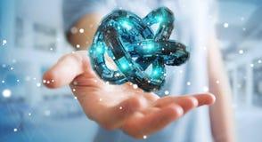 L'uomo d'affari facendo uso del toro futuristico ha strutturato la rappresentazione dell'oggetto 3D Immagini Stock