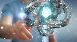 L'uomo d'affari facendo uso del toro futuristico ha strutturato la rappresentazione dell'oggetto 3D Fotografie Stock