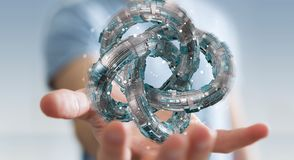 L'uomo d'affari facendo uso del toro futuristico ha strutturato la rappresentazione dell'oggetto 3D Immagine Stock