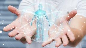 L'uomo d'affari facendo uso dell'interfaccia digitale 3D di ricerca del corpo umano dei raggi x ren Immagine Stock Libera da Diritti