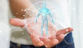L'uomo d'affari facendo uso dell'interfaccia digitale 3D di ricerca del corpo umano dei raggi x ren Fotografia Stock