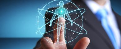 L'uomo d'affari facendo uso dell'interfaccia digitale 3D di ricerca del corpo umano dei raggi x ren Immagini Stock Libere da Diritti