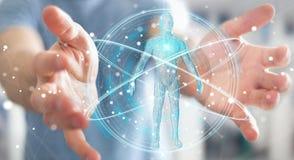 L'uomo d'affari facendo uso dell'interfaccia digitale 3D di ricerca del corpo umano dei raggi x ren Fotografia Stock Libera da Diritti