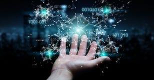 L'uomo d'affari facendo uso della rete digitale 3D del collegamento di codice binario si strappa Fotografia Stock
