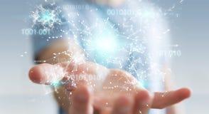 L'uomo d'affari facendo uso della rete digitale 3D del collegamento di codice binario si strappa Immagini Stock Libere da Diritti