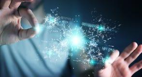 L'uomo d'affari facendo uso della rete digitale 3D del collegamento di codice binario si strappa Immagine Stock Libera da Diritti
