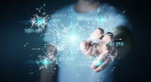 L'uomo d'affari facendo uso della rete digitale 3D del collegamento di codice binario si strappa Fotografie Stock Libere da Diritti