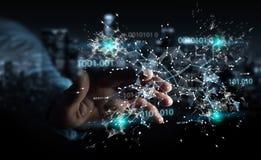 L'uomo d'affari facendo uso della rete digitale 3D del collegamento di codice binario si strappa Immagine Stock