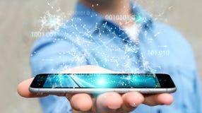L'uomo d'affari facendo uso della rete digitale 3D del collegamento di codice binario si strappa Fotografia Stock Libera da Diritti