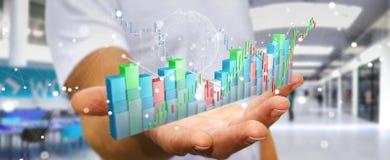 L'uomo d'affari facendo uso di 3D digitale ha reso lo stats e la c di borsa valori Immagini Stock Libere da Diritti