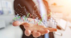 L'uomo d'affari facendo uso di 3D digitale ha reso lo stats e la c di borsa valori Immagini Stock