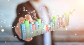 L'uomo d'affari facendo uso di 3D digitale ha reso lo stats e la c di borsa valori Immagine Stock Libera da Diritti