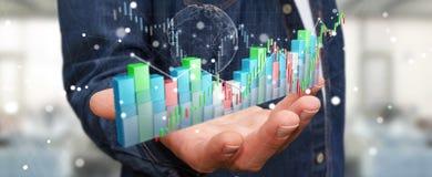 L'uomo d'affari facendo uso di 3D digitale ha reso lo stats e la c di borsa valori Fotografie Stock