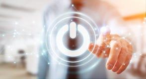 L'uomo d'affari facendo uso di 3D rende il bottone di potere con i collegamenti Immagine Stock Libera da Diritti