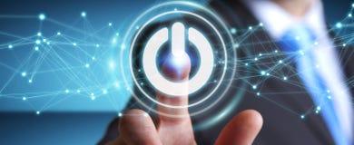 L'uomo d'affari facendo uso di 3D rende il bottone di potere con i collegamenti Immagini Stock