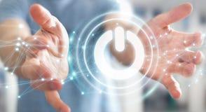 L'uomo d'affari facendo uso di 3D rende il bottone di potere con i collegamenti Immagini Stock Libere da Diritti
