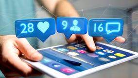 L'uomo d'affari facendo uso di uno smartphone con la a gradisce, seguace e messag Fotografie Stock Libere da Diritti