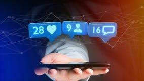 L'uomo d'affari facendo uso di uno smartphone con la a gradisce, seguace e messag Fotografia Stock Libera da Diritti