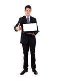 L'uomo d'affari felice con i pollici aumenta il gesto Fotografia Stock Libera da Diritti