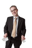 L'uomo d'affari felice mostra cinque a Fotografia Stock