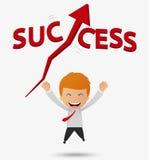 L'uomo d'affari felice ottiene il fumetto di successo Fotografie Stock Libere da Diritti