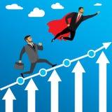 L'uomo d'affari funziona a successo ed al volo dell'eroe eccellente illustrazione di stock
