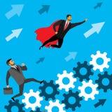 L'uomo d'affari funziona sugli ingranaggi a successo ed all'eroe eccellente illustrazione di stock