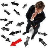 L'uomo d'affari ha deciso la direzione Fotografie Stock Libere da Diritti
