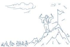 L'uomo d'affari ha scalato lo scarabocchio maschio di schizzo della siluetta di concetto di vittoria di successo del punto della  royalty illustrazione gratis
