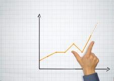 L'uomo d'affari indica un grafico su un flipchart - concetto con il copyspace di abbondanza Fotografia Stock Libera da Diritti