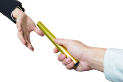 L'uomo d'affari invia il bastone dorato Fotografie Stock Libere da Diritti