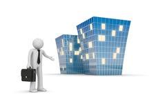 L'uomo d'affari invita al nuovo edificio per uffici Immagini Stock