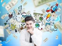 L'uomo d'affari, la pioggia sorridenti del dollaro e cominciano su Immagine Stock