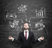 L'uomo d'affari meditativo sta pensando alle misure di sviluppo di affari I grafici, diagramma a torta, icone di affari sono atti Immagini Stock Libere da Diritti