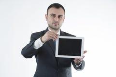 L'uomo d'affari mostra il ridurre in pani Fotografia Stock Libera da Diritti