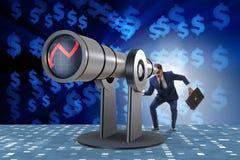 L'uomo d'affari nel concetto di affari di pianificazione finanziaria Fotografia Stock
