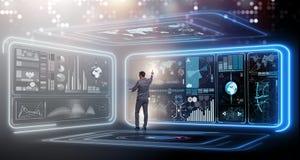 L'uomo d'affari nel grande concetto della gestione dei dati