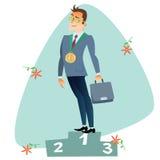 L'uomo d'affari nel primo posto dell'affare del podio mette in mostra il competi illustrazione di stock